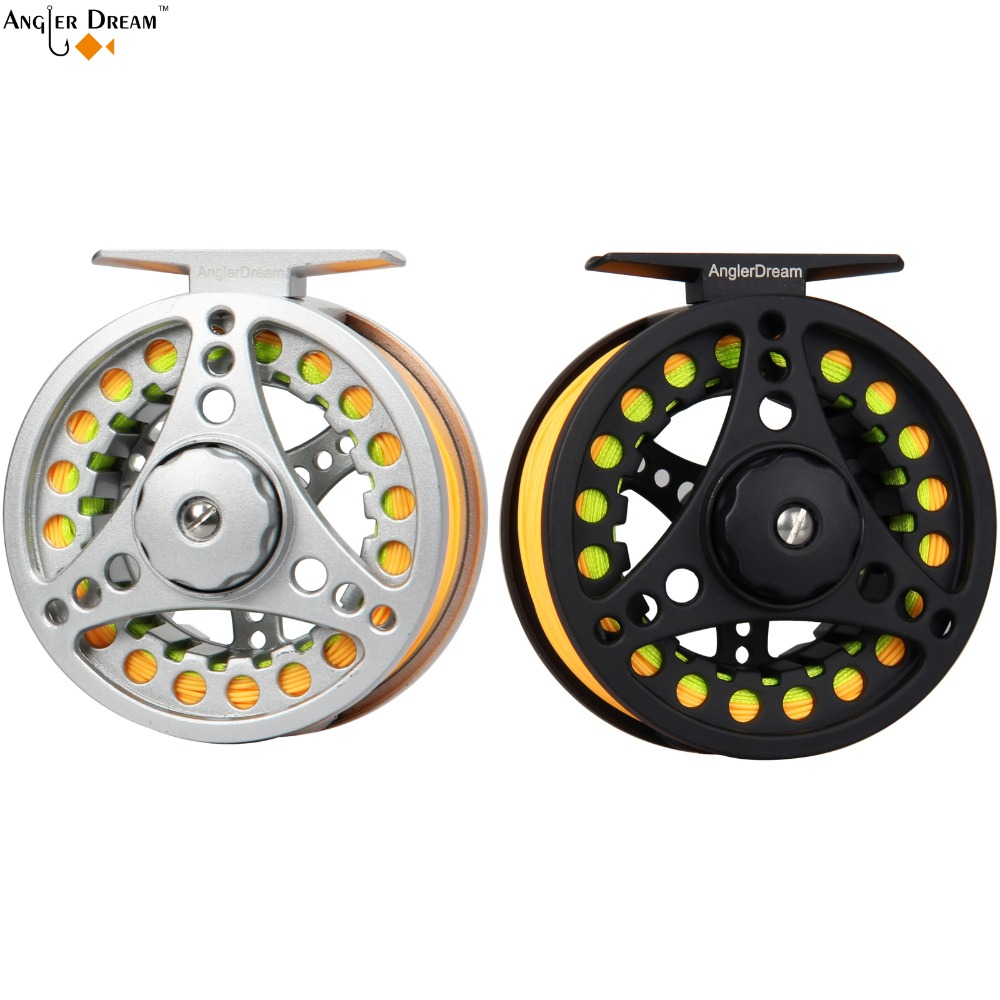 3/4 5/6 7/8 WT Silver Black Fly Reel & Line Combo Large Arbor Aluminum Fly Fishing Reel with WF Fly Line Backing Tapered Leader 4 3 convenient single way revolving rotating fishing thread reel black silver