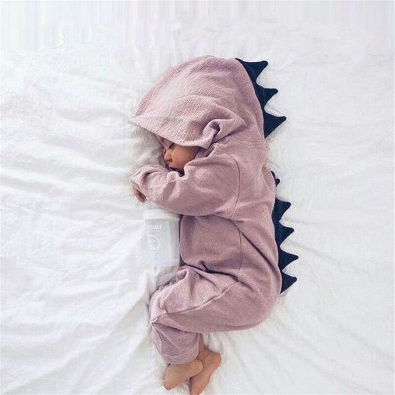 Детские комбинезоны с длинным рукавом на осень, костюм динозавра для новорожденных мальчиков и девочек, детский комбинезон, одежда с капюшо...