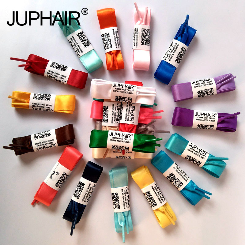 JUP 1 Pair 120cm Womens Girls Wholesale Fashion Silk Ribbon Flat Shoelaces All Sneaker Sports Shoes Fantastic Shoelace Laces