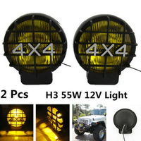 2Pcs 55W 6000K Offroad Fog Light Lamp Xenon H3 Bulb HID 4x4 Spotlights Lights Work Driving
