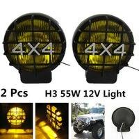2Pcs 55W 6000K Offroad Fog Light Lamp Xenon H3 Bulb HID 4x4 Spotlights Lights Work Driving