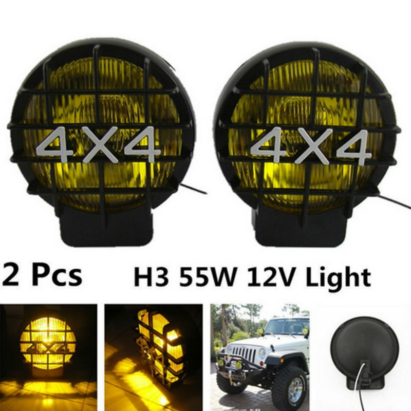 2Pcs 55W Offroad Fog Light Lamp Halogen H3 Bulb 4x4 Spotlights Lights Work Driving Head Lights For Car Off Road SUV картридж cactus cs cc641 121xl для hp deskjet d1663 d2563 d2663 d5563 f2423 f2483 черный 600стр
