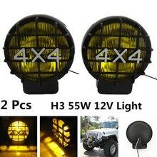 2 шт. 55 Вт бездорожья противотуманных фар галогенная лампа H3 лампы 4×4 Открытый Прожекторы огни работать для вождения фары для автомобиля внедорожник