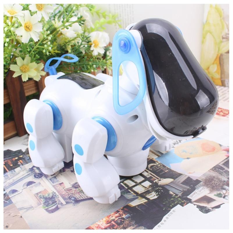 Купить с кэшбэком 1 Pcs Electric Vocal Dog Toy Plastic Flashing Eyes Vocalizing Walking Automatically Turning Robot Dog Toys Baby Interactive Toys