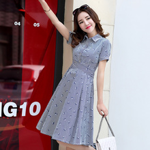 2017 new Spring summer Women Shirt Dress Lady With short sleeves stripe  Party Dresses 100% Cotton  Plus Size  Casual