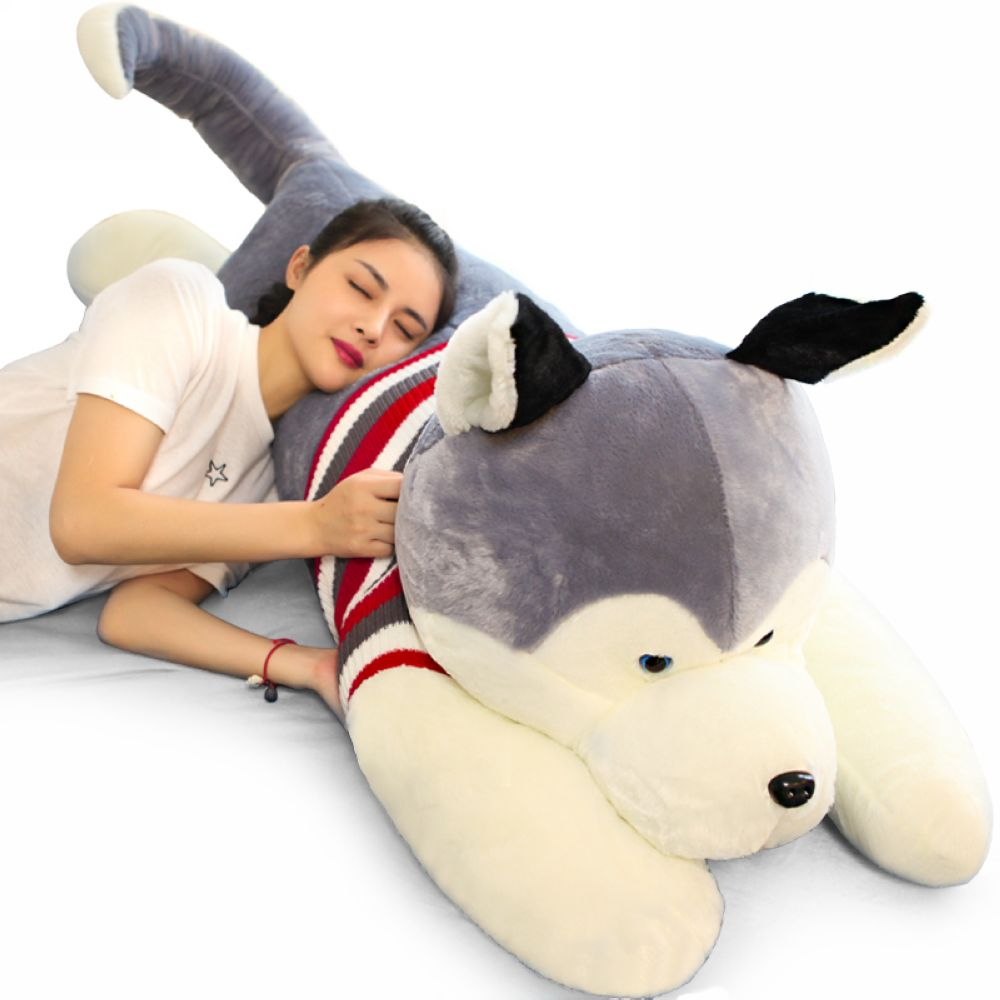 Fancytrader Jumbo Giant Plush Husky Dog Toy Stuffed Soft Animal Puppy Pillow Doll Gifts for Children 4 Sizes 3 Colors fancytrader lovely soft cartoon fox plush toy stuffed animal fox dog doll pillow creative decoration gift 47inch 120cm 3 colors