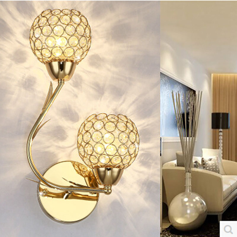 K9 Crystal Wall Sconces Modern Simple crystal gold silver creative LED bedside bedroom wall lamp double heads aisle Wall Lamps new k9 crystal lamp classic zinc alloy wall lights e14 led single bedside wall lamps for bedroom f032 1