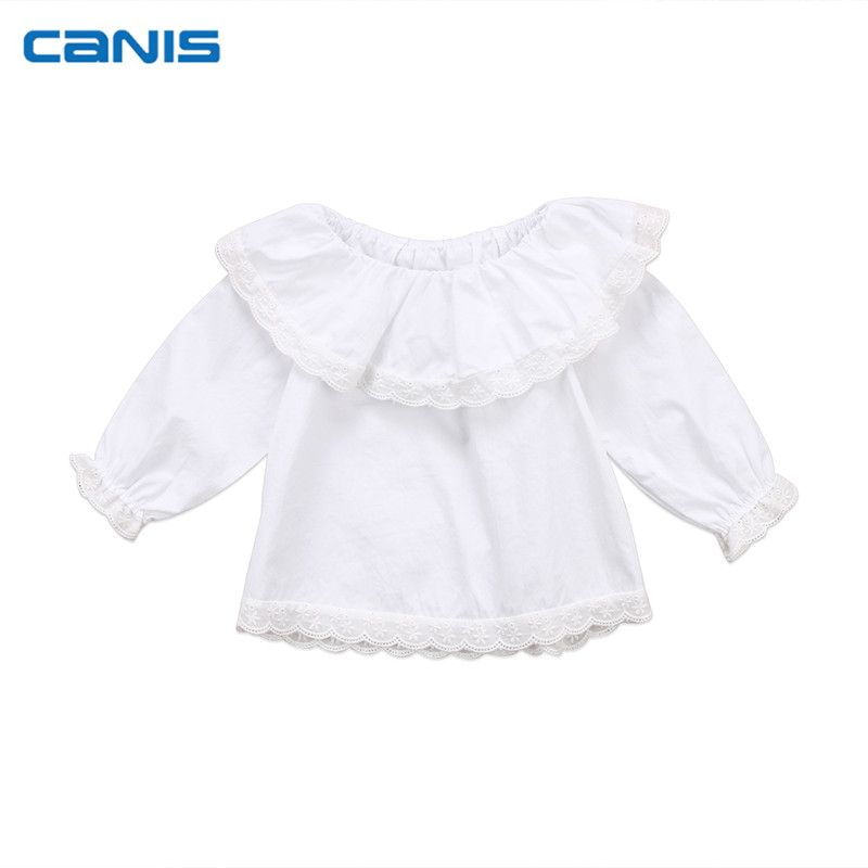 Newborn Infant Toddler <font><b>Baby</b></font> Girls Lace Collar <font><b>Long</b></font> <font><b>Sleeve</b></font> Off Shoulder <font><b>Long</b></font> <font><b>Sleeve</b></font> Tops T-<font><b>shirt</b></font> Clothes 0-2T image
