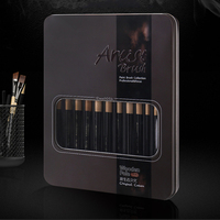 12 pinceaux de peinture en nylon brosse boîte de fer artiste pinceaux ensemble pour aquarelle huile acrylique peinture à la gouache 6