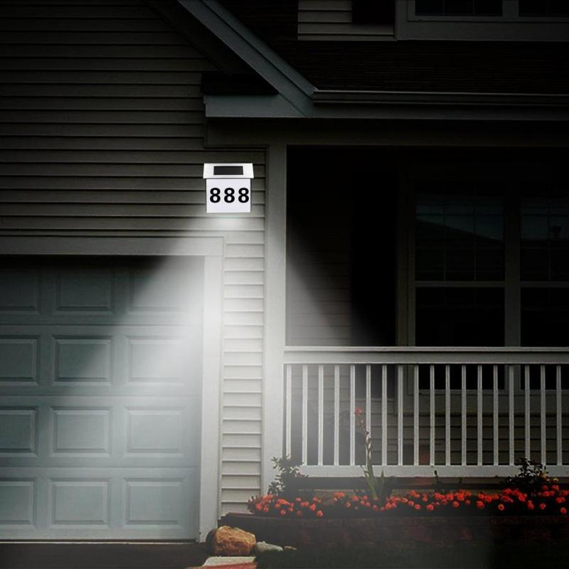 LED Solar Lamp Waterproof Number Doorplate Solar Lamp Garden Outdoor House Indicating Light