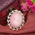 Moda Strass Cristal Do Vintage Estilo Vitoriano Cameo Rosa Broche Lady Scarf Pinos Broche de Venda Quente