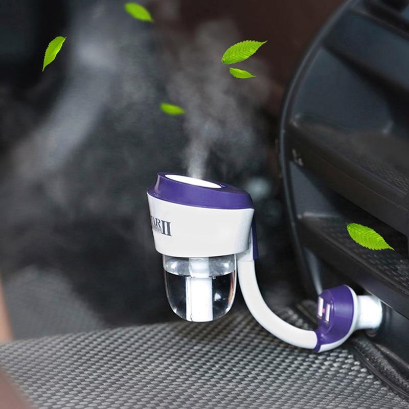 12V Car Steam Humidifier Auto Mini Air Purifier Air Freshener With 2 USB Charging Interface Air Purification Humidifier juwanke bamboo charcoal plush toys air freshener auto air purifier