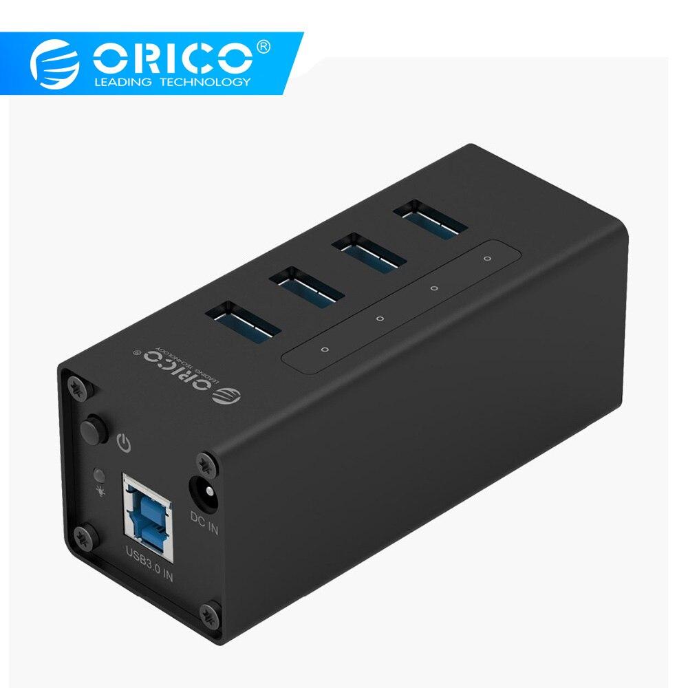 ORICO HUB USB de 4 puertos USB3.0 con fuente de alimentación 12 V 5 Gbps portátil HUB para Windows/ mac/Linux-Negro