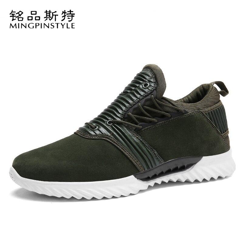 Mingpinstyle hommes chaussures été respirant sans lacet en daim Jogging chaussures bas aide confortable doux lumière baskets