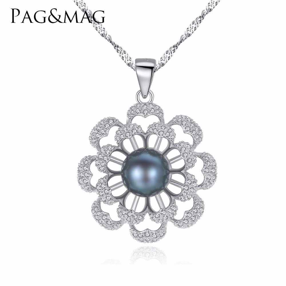 PAG&MAG Brand Flower Pearl 925 Sterling Silver Necklaces & Pendants Cubic Zirconia Women Silver Pendant Necklace Jewelry GiftPAG&MAG Brand Flower Pearl 925 Sterling Silver Necklaces & Pendants Cubic Zirconia Women Silver Pendant Necklace Jewelry Gift
