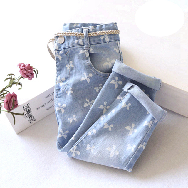 Baby Girls Bowknot-print Denim Jeans Girls Spring Autumn Skinny Jeans With Belt Girls Casual Long Pants