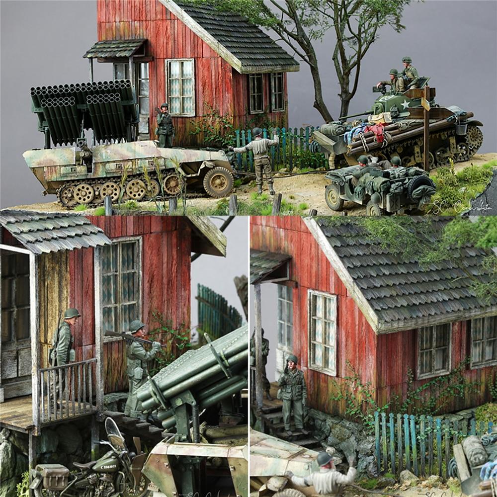 Hobby DIY Building Puzzles Model Kit Wood Ruins House 1//35 War Scene Layouts