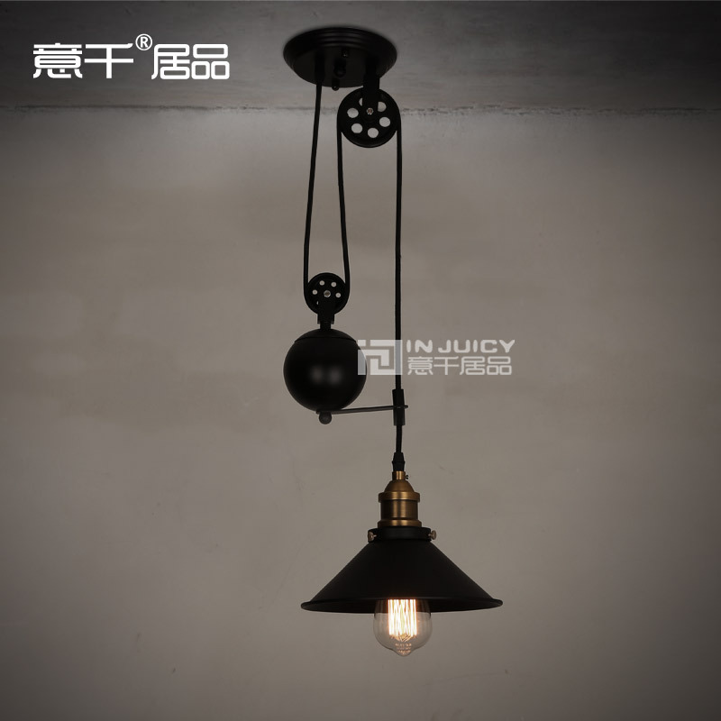 где купить  Loft Edison Ceiling Chandelier lifting Industrial Lamp Vintage Barn Pendant 22CM Cafe Bar Coffee Shop Hall Store Club Bedside  дешево
