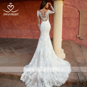 Image 5 - Detachable Train  2 in 1 Wedding Dress 2020 Appliques Long Sleeve Mermaid Bridal Gown Princess Swanskirt  K118 Vestido De Noiva