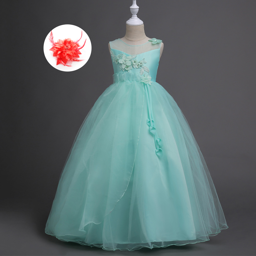 Champagne Peach Tulle European Style Little Big Girl Kids Wedding ...