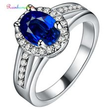 цена Rainbamabom Real 925 Solid Sterling Silver Blue Sapphire Gemstone Wedding Engagement Ring Fine Jewelry Women Gifts Wholesale онлайн в 2017 году