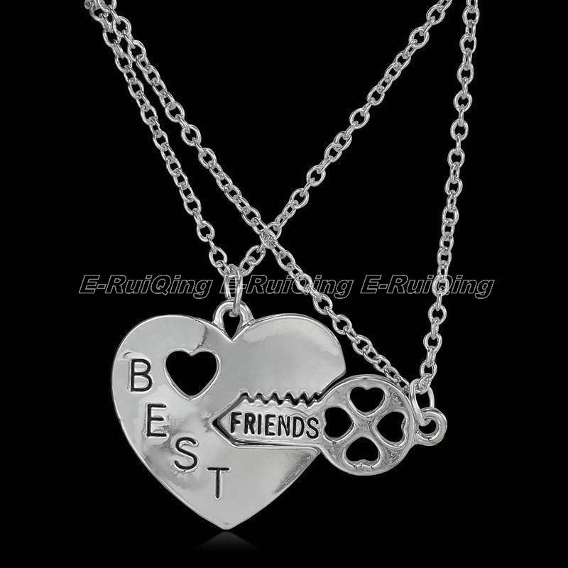 2PC/Set Fashion Beautiful Forever Best Friends Love Pendant Necklace Key And Love Jewelry Trendy Lovers Gift