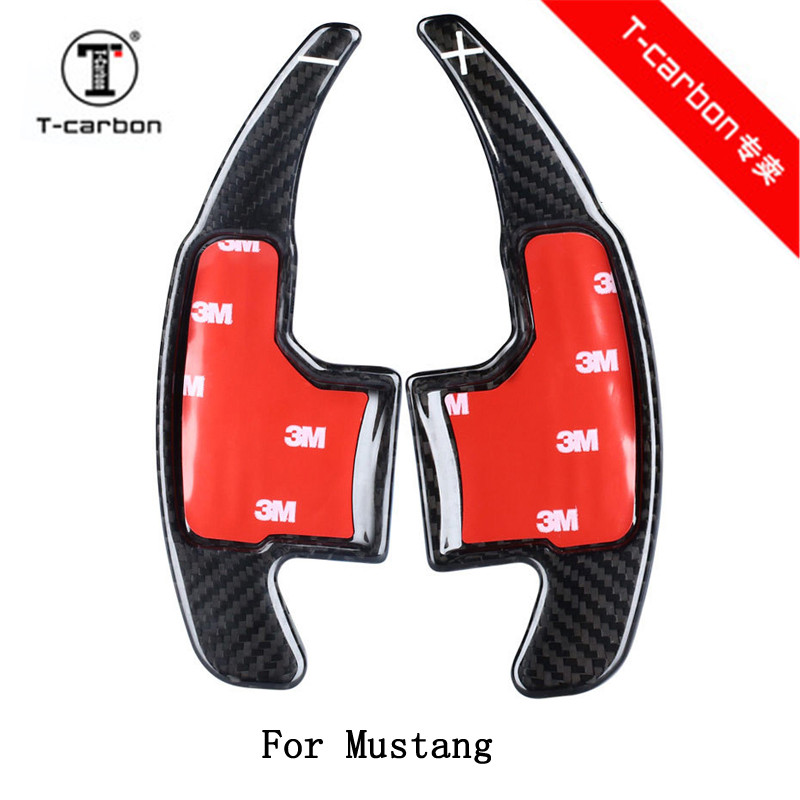 Car styling Real Carbon Fiber Steering Wheel Shift Paddles For Ford Mustang цена