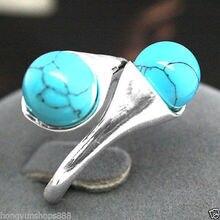 > Красивые синие бирюзовые бусины драгоценные камни 925 пробы Серебряное кольцо