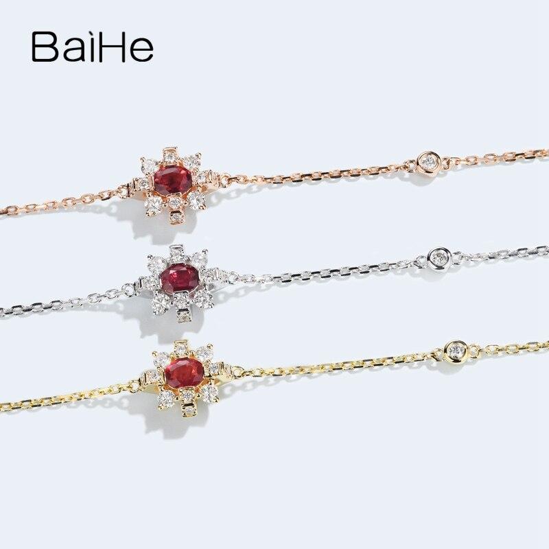 BAIHE sólido 14 K oro amarillo 0,2ct Certificado H/SI 100% diamantes naturales genuinos compromiso mujeres moda joyería fina pulsera - 2