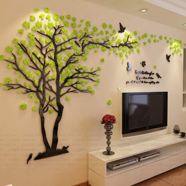 Placeholder New Arrival Lovers Tree Crystal Three Dimensional Wall Stickers Living  Room Tv Sofa Wall Acrylic