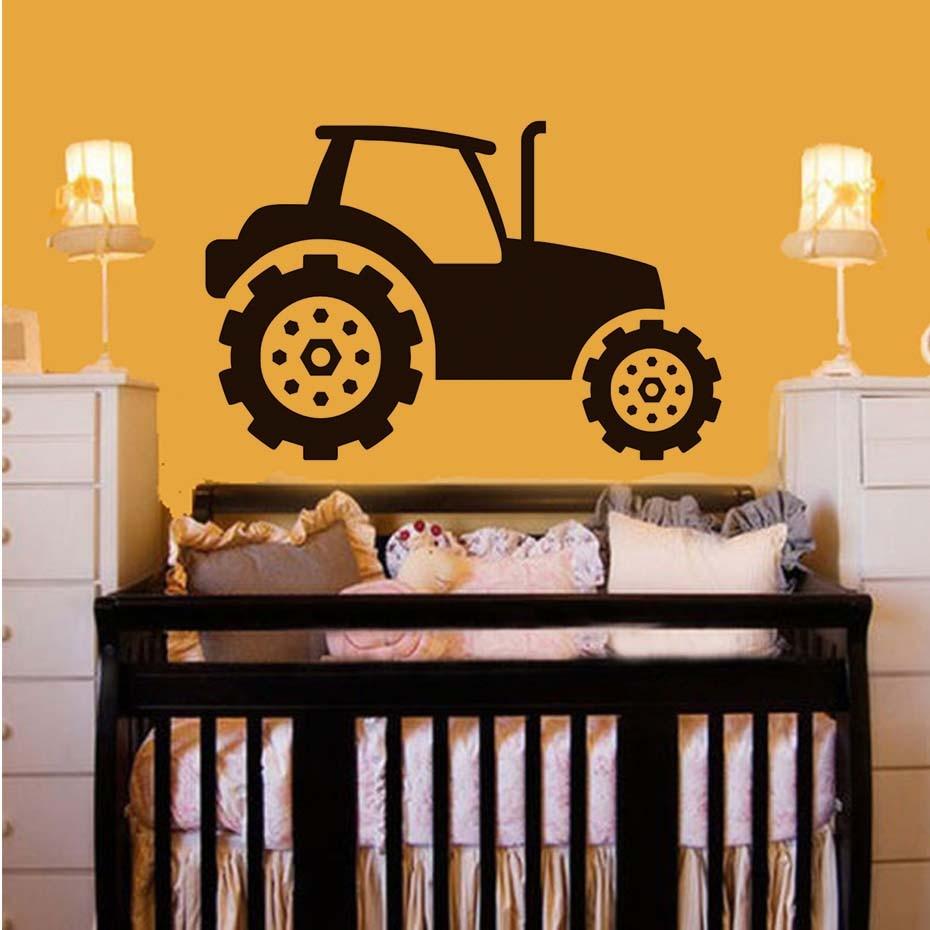 High Quality Boys Bedroom Headboard Cartoon Tractor Wall Sticker