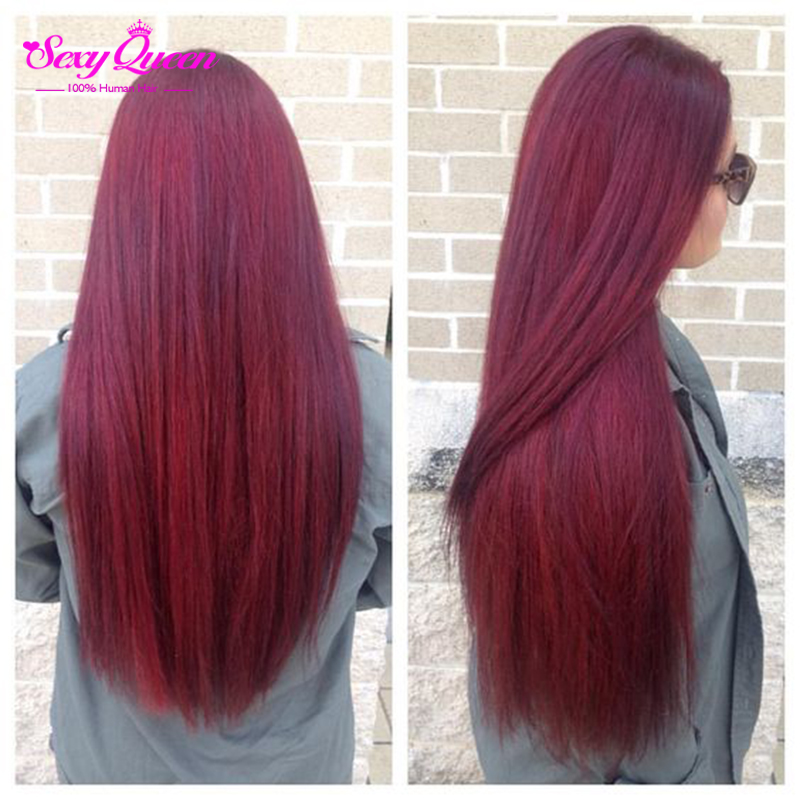 Brazilian Virgin Hair Straight 4 Bundles Burgundy Brazilian