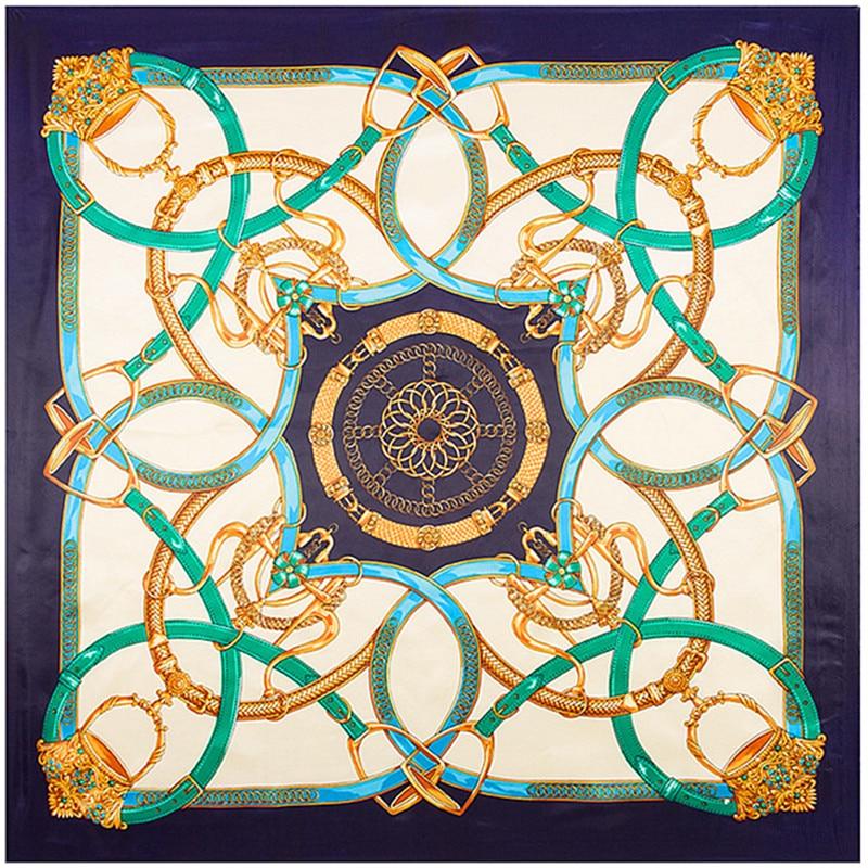 90*90cm 2020 Luxury Brand Women Silk Scarfs, Female European Style Print Chain Square Scarves/Spring Summer Shawls For Ladies