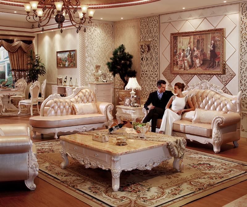 terrific european style living room furniture   European style Leather Sofa Solid Wood Carved Residential ...