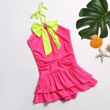 Купальный костюм для девочек, цельный костюм, Пляжное Платье, От 1 до 9 лет, однотонное на лямке, детская юбка с бантом, костюм для плавания, купальный костюм
