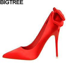 2d26b98fd43 BIGTREE Women Pumps Sexy Shallow Satin Shoes Thin High Heels Wedding  Bridesmaid Fashion Shoes Woman Bow