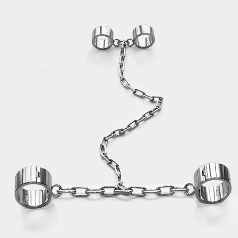 Slave bdsm metal hand ankle cuffs stainless steel handcuffs leg irons shackles torture devices bondage restraints sex tools top stainless steel bdsm bondage kit fixed frame hand arm ankle cuffs slave restraints tools handcuffs black penis dildo