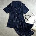 Lisacmvpnel verano nueva transpirable soft mujeres pijamas rayon corto estilo casual femenina conjunto twinset de las mujeres ropa de dormir pijama