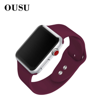OUSU Silicone Band Sports Smart Watch Strap For apple 4 3 2 1 38mm 42mm 40mm 44mm Original iwatch Replacement