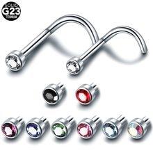 Yeni 1 adet G23 titanyum burun Nariz ile Piercing düz Gem burun vida damızlık Nariz burun yüzükler seksi Piercing takı 20g & 18g