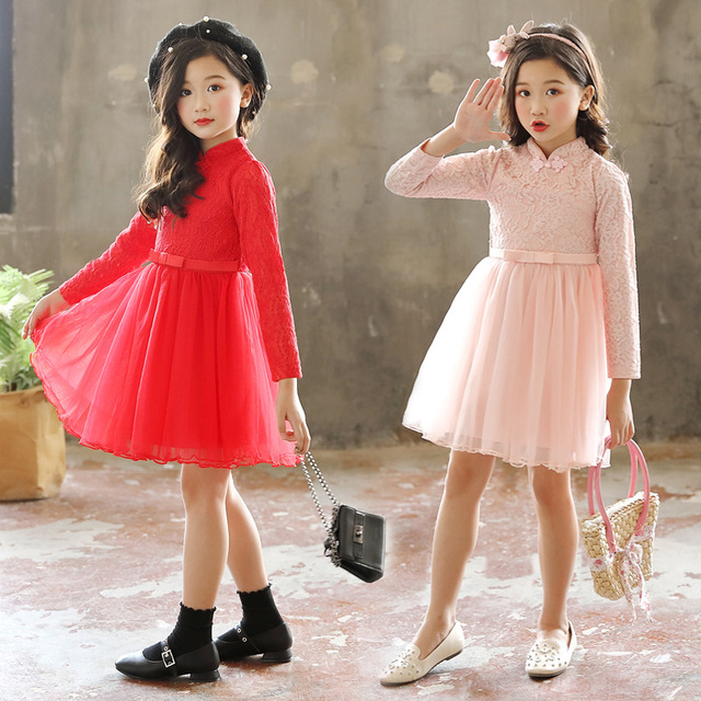 6981f8f097 Children Qipao Dress Girls Long Sleeve Chinese Fashion Princess Party  Dresses Kids 3-12Years Elegant New Year Costumes Red Pink