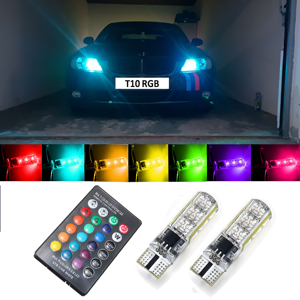 2x Remote Control T10 W5W <font><b>LED</b></font> Bulb RGB Car Clearance Parking Lights For <font><b>Peugeot</b></font> <font><b>206</b></font> 407 508 308 406 3008 2008 Partner 306 307 image