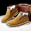 Size 39-44 New Arrival Trend Ankle Boots for Men Black Brown Winter Snow Boot Fur Boot Slide Zipper Flock Short Men Shoe Casual