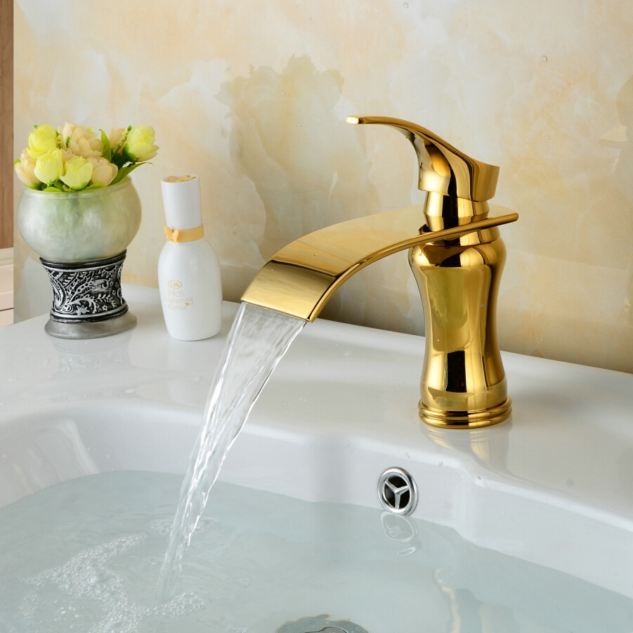Brass Bathroom Faucet Gold Bathroom Sink Faucets Dingmans Swan Shaped Gold Finish Dual