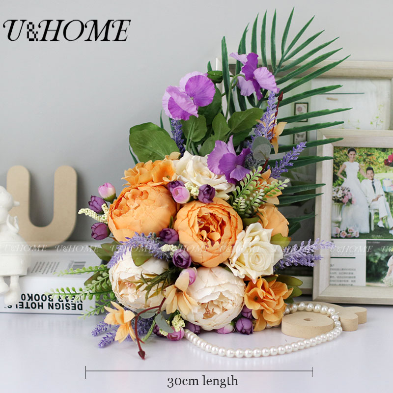 U&Home Artificial DIY <font><b>flower</b></font> silk peony rose purple pansy monstera leaf bride bouquet hydrangea for home wedding decoration bulk