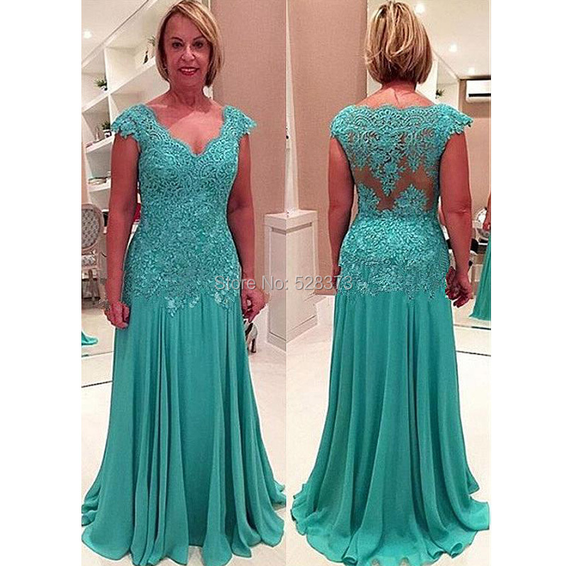YNQNFS MD44 Elegant Lace Appliqued Sheath V Neck Cap Sleeves Mother of the Bride Groom Dresses Long Outfits Turquoise Green in Mother of the Bride Dresses from Weddings Events