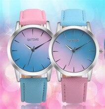 OKTIME Vogue Lovely Girls Males Watch Rainbow Leather-based Informal Quartz WristWatch Unisex Elegant Clock Relogio Feminino KT44