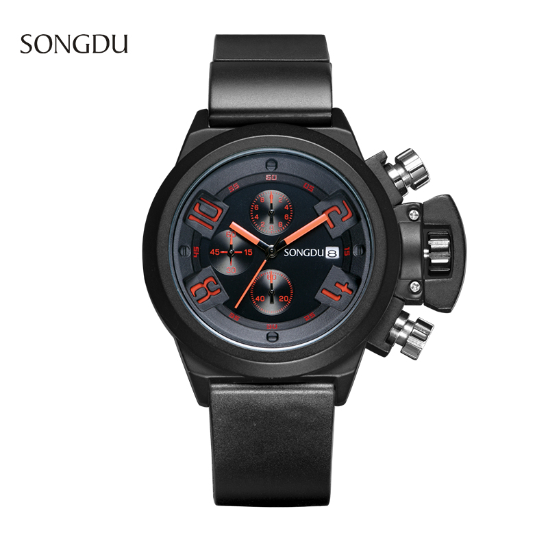 SONGDU Brand Men Sports Watches Date Chronograph Military Quartz Watch Clock Man Waterproof Leather WristWatch Relogio Masculino weide new men quartz casual watch army military sports watch waterproof back light men watches alarm clock multiple time zone