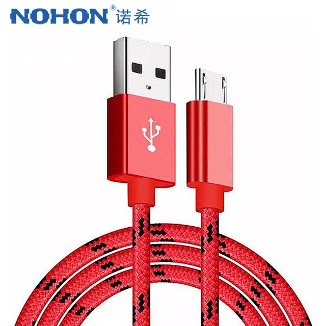 NOHON ניילון טעינת נתונים כבל מיקרו USB לסמסונג גלקסי S7 S6 עבור Huawei Xiaomi Redmi 4 LG אנדרואיד טלפון מהיר מטען כבל