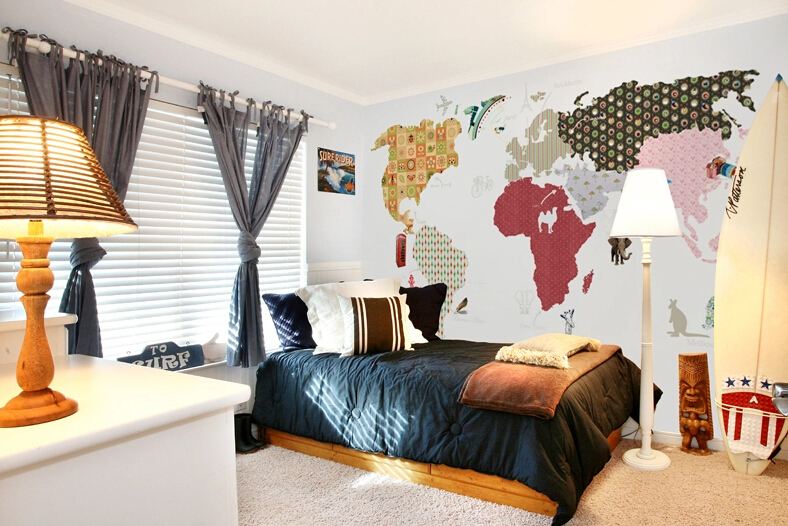 Child Real World Map Boys Bedroom Wallpaper-in Wallpapers